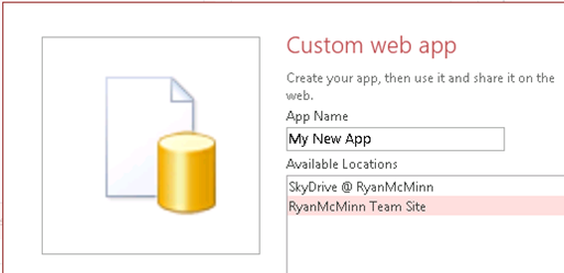 Create a new Access 2013 web app with Office 365.
