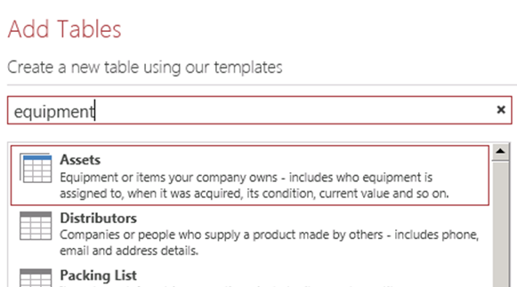 Add tables using templates.