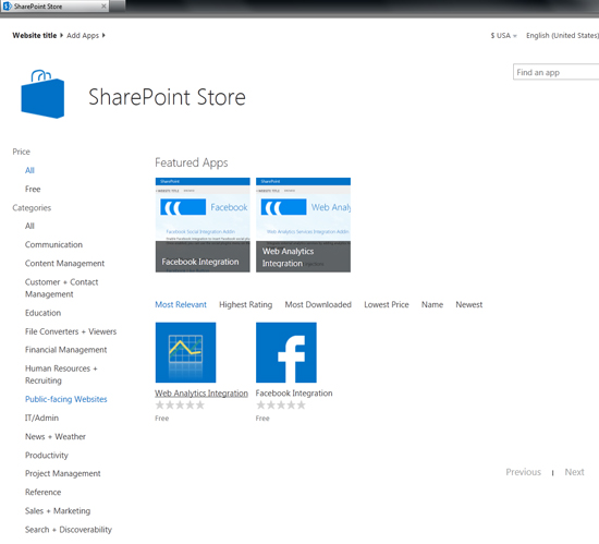 Public-facing applications in the SharePoint App Store