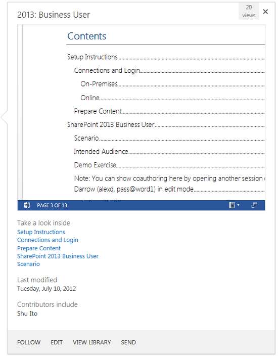 A closer look at the hover panel preview, document links, and actions.