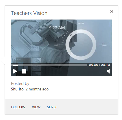 The video hover panel allows users to play videos.
