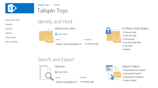 The home page of the eDiscovery Case site