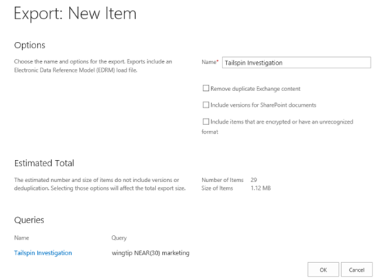 Export makes it easy to download your search results from Exchange and SharePoint whether the data is on premises or in Office 365.