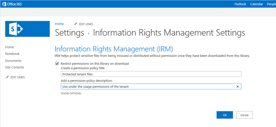 Setting IRM protection on a document library