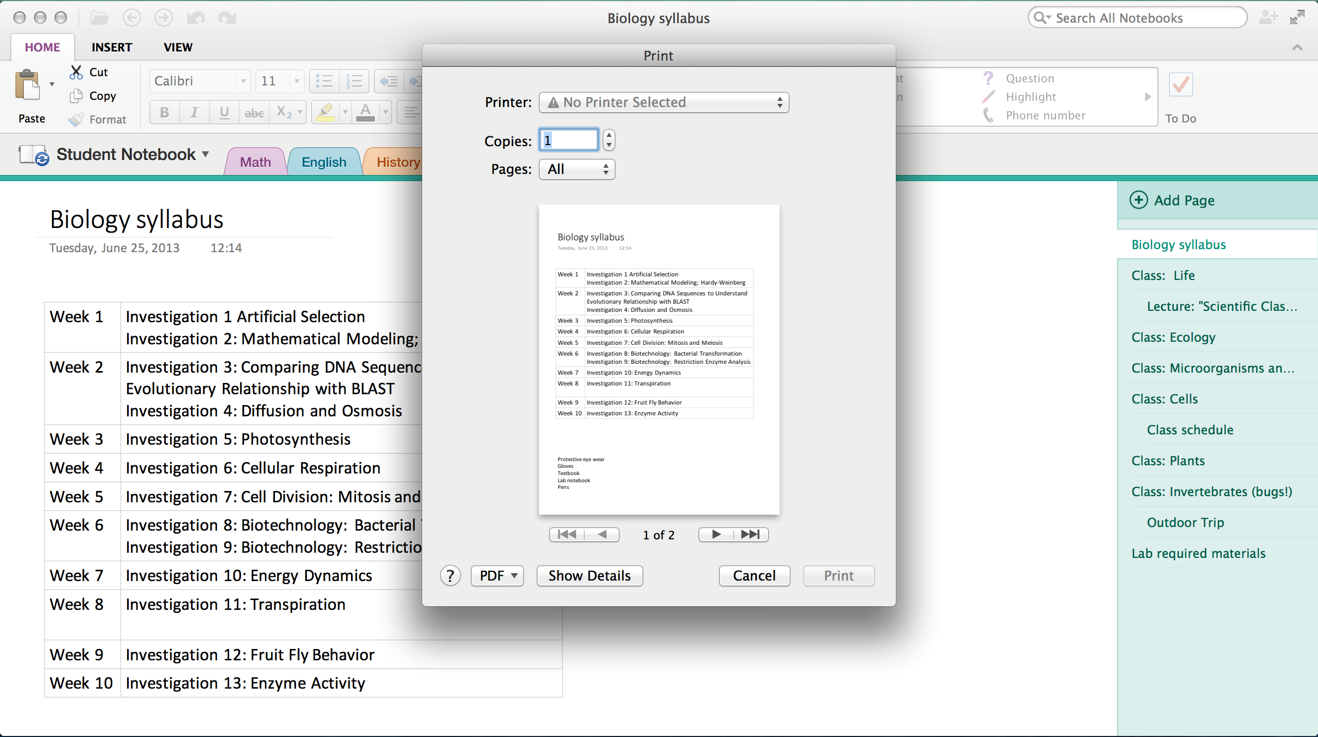 OneNote for Mac update: Print, capture content and more