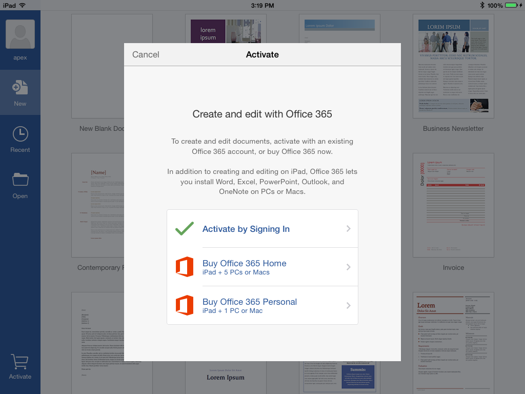 office home and business for mac work on ipad