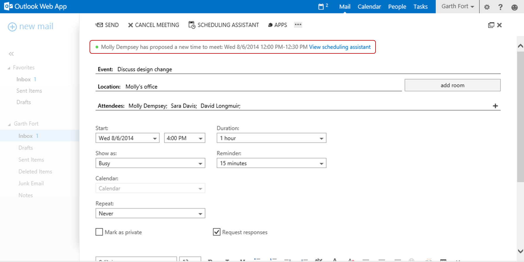 Outlook Calendar Organization : Propose new time—a feature for outlook web app in