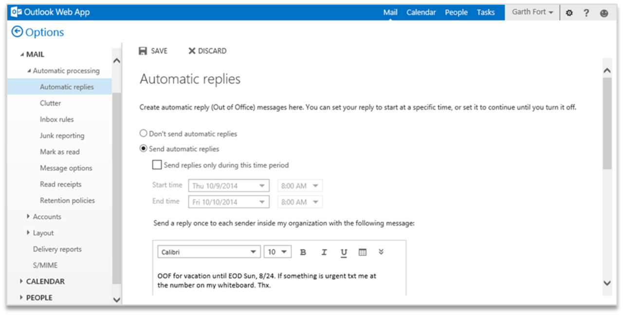 how to change settings in microsoft mail app