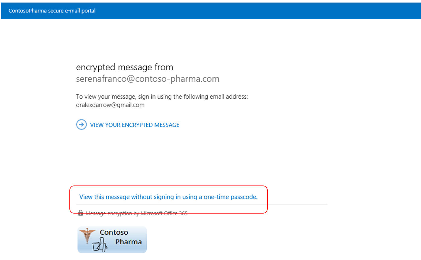 One-Time Passcode for Office 365 Message Encryption