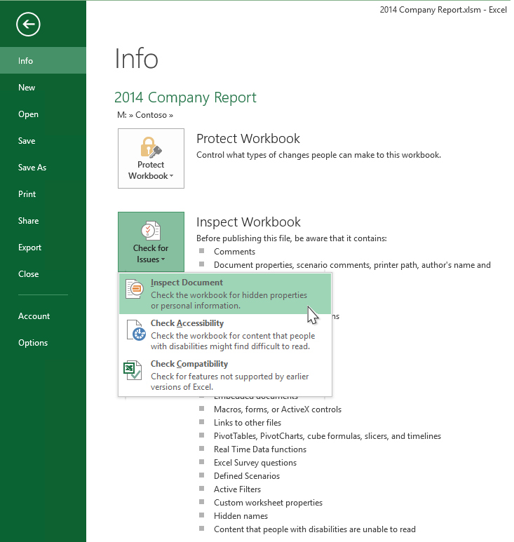 New Document Inspector Features For Excel Powerpoint And Word
