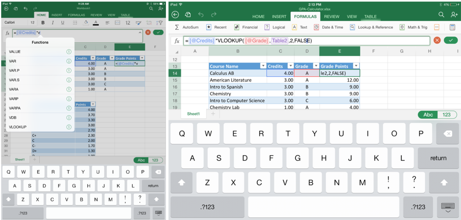 excel for ipad helps students stay on top of their gpa
