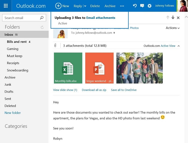 Save your Outlook com email attachments to OneDrive in one