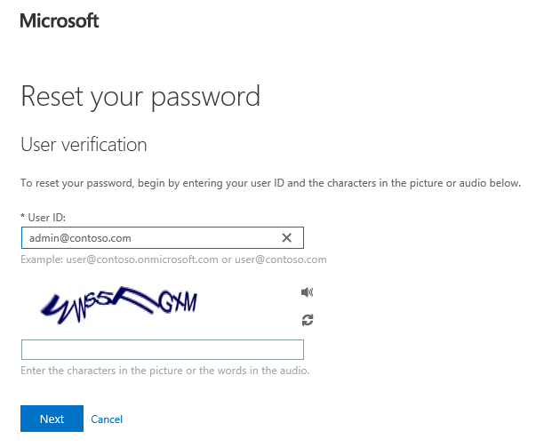microsoft password reset page not working