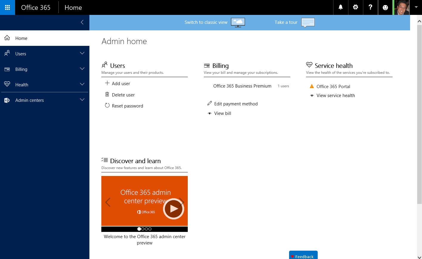 Office 365 Admin Center - 1