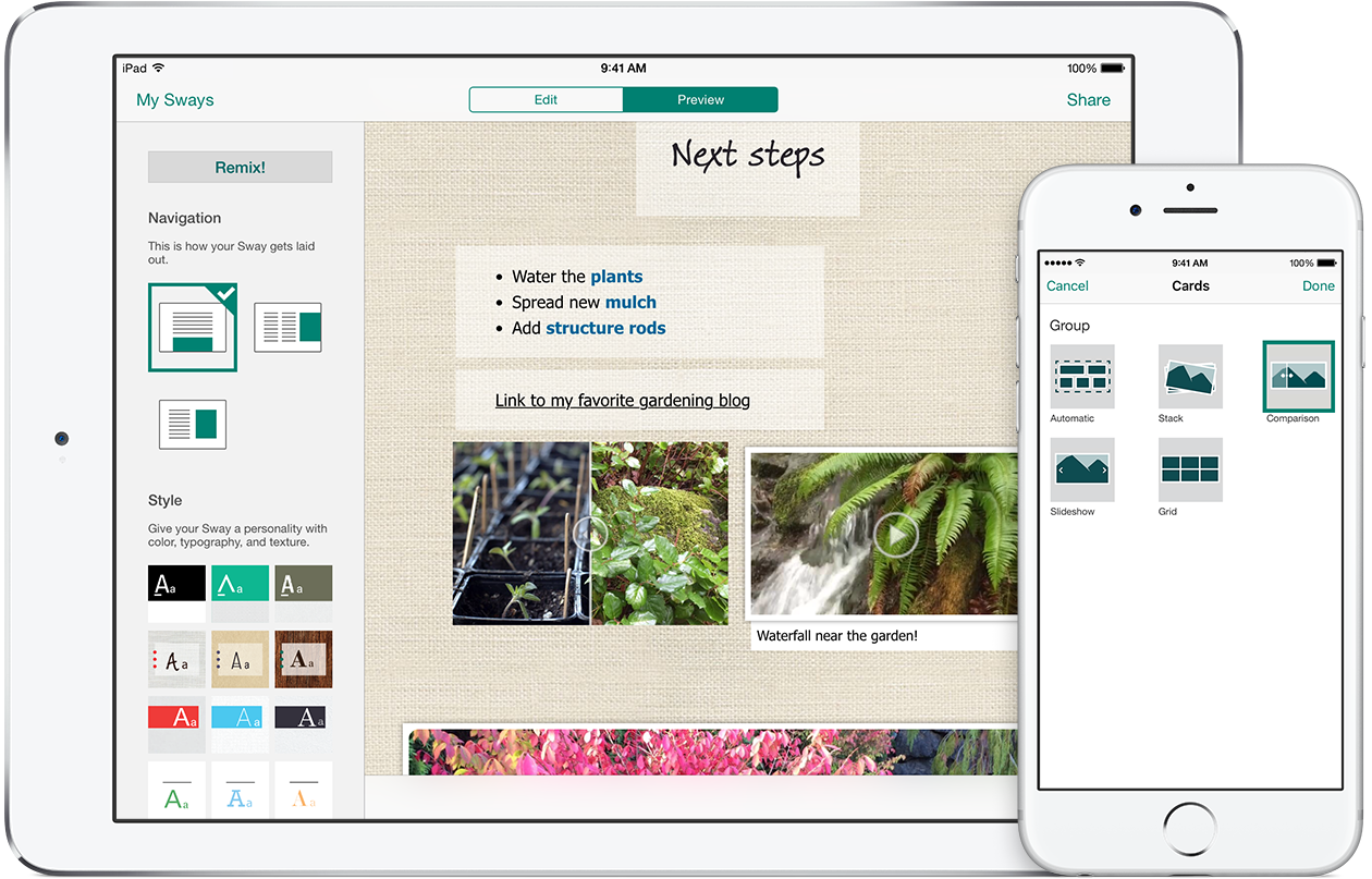 Sway adds onedrive for business integration sway for iphone and make your sways more dynamic and interactive with an additional layout left and additional visualization options right including the comparison option reheart Gallery
