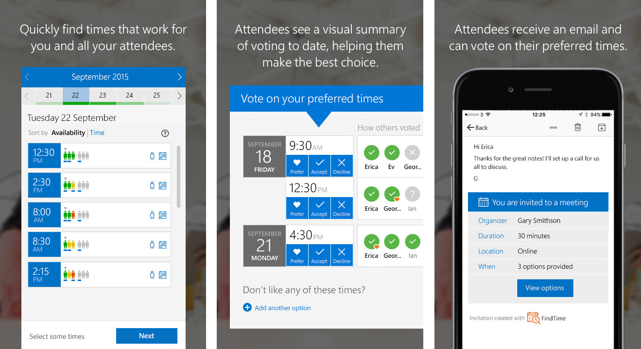schedule meetings faster with findtime a microsoft garage project