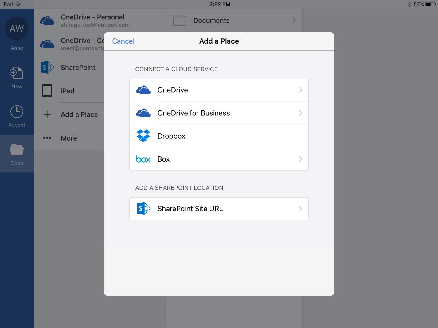 New cloud storage options for Office mobile and Office Online