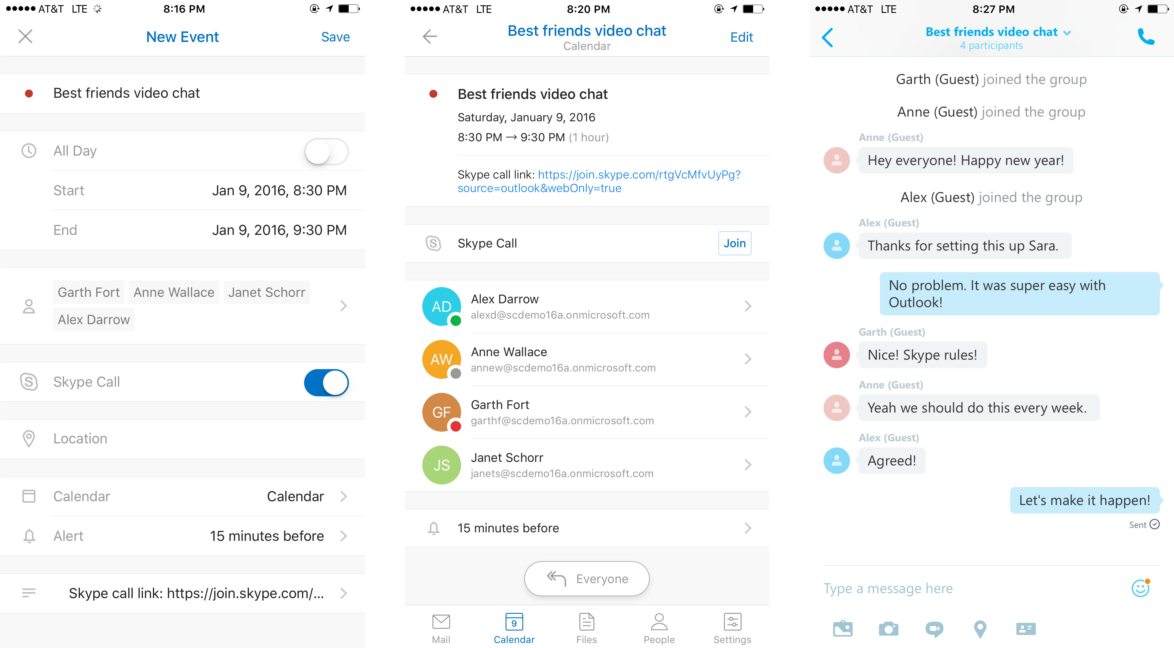 Skype call scheduling and more updates for Outlook for iOS