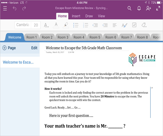 "Engaging math students with the ""Escape Room"" challenge and OneNote ..."