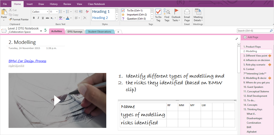 how to make subpages in onenote