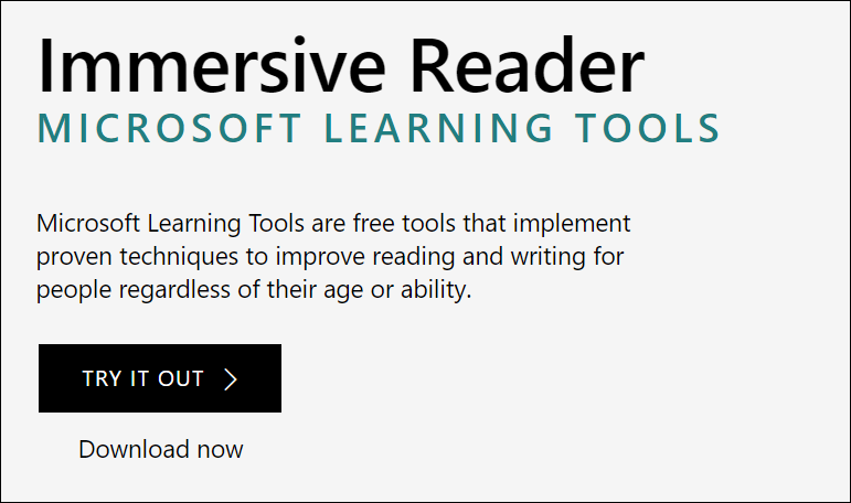 "Image shows ""Try it out"" button displayed on the Learning Tools landing page. Image is linked to the Learning Tools landing page."
