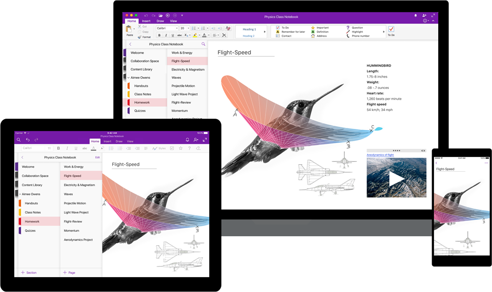 Image of OneNote across three different devices: Computer, tablet and  phone. Screen shows