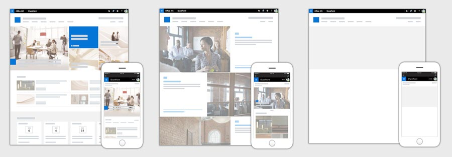 Images showing how each of the different three site design options look on a desktop and mobile device.