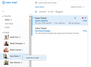 You can use People View list to respond to email fast, including marking all messages from a person as read with just a click.