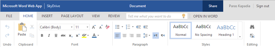 Sleeker look, simpler experience in Word Web App