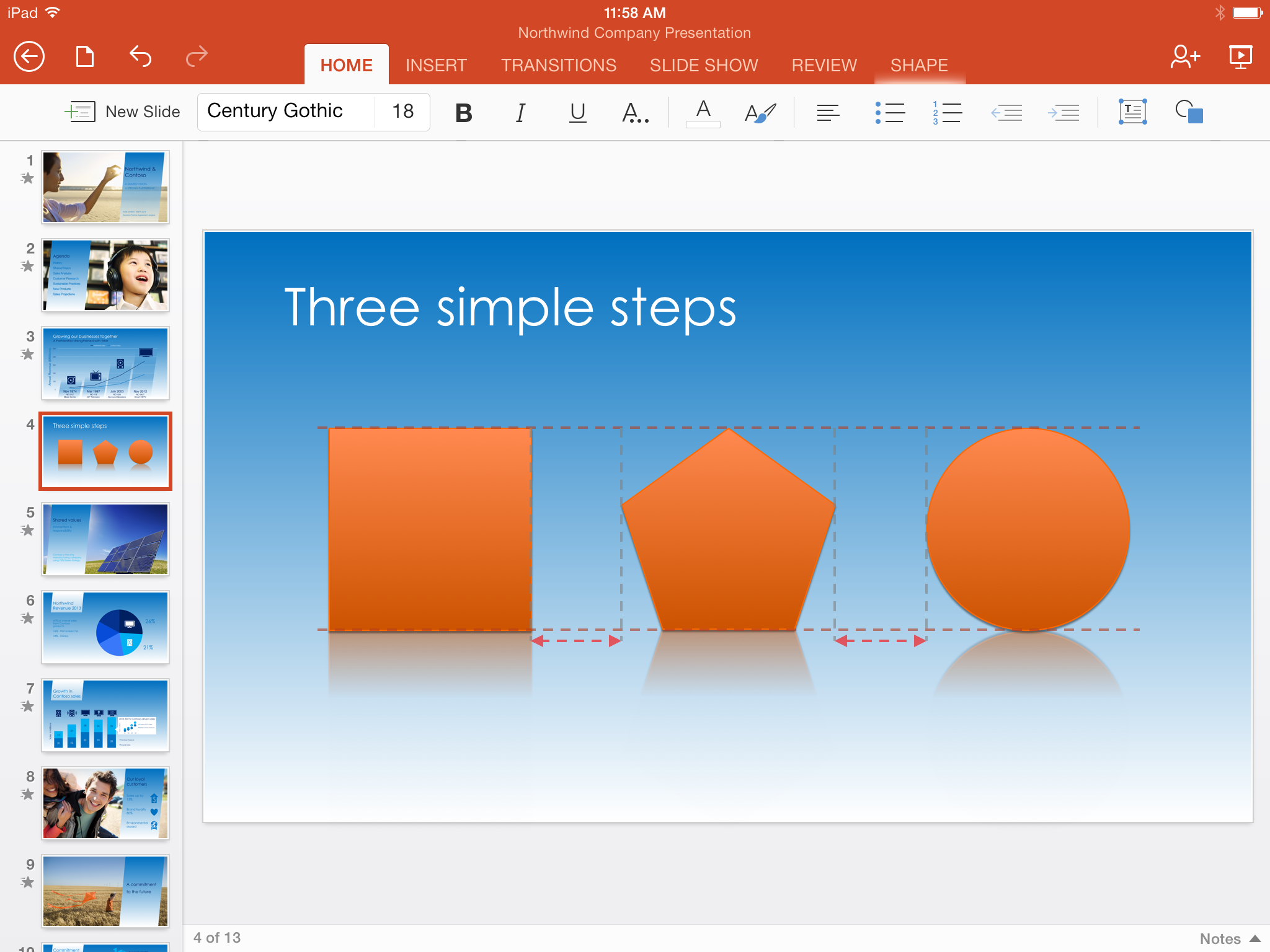 PowerPoint for iPad SmartGuides