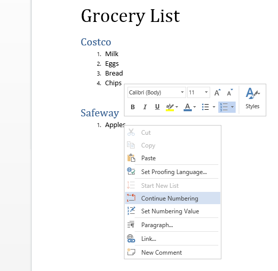 Lists are improved in Word Online.