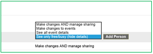 Google calendar - delegate access options