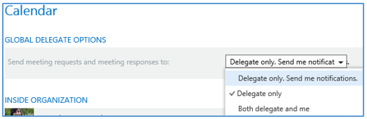 Outlook - options to delegate access