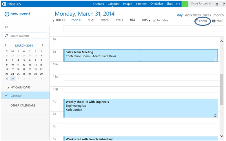 Outlook - Calendar sharing