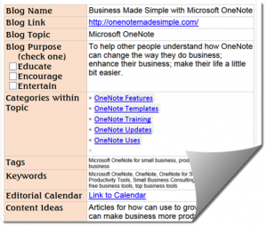 Using OneNote to make your small business profitable and