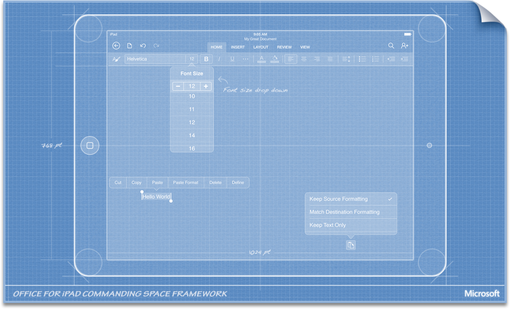 An aimge of a blueprint design for Office for ipad.