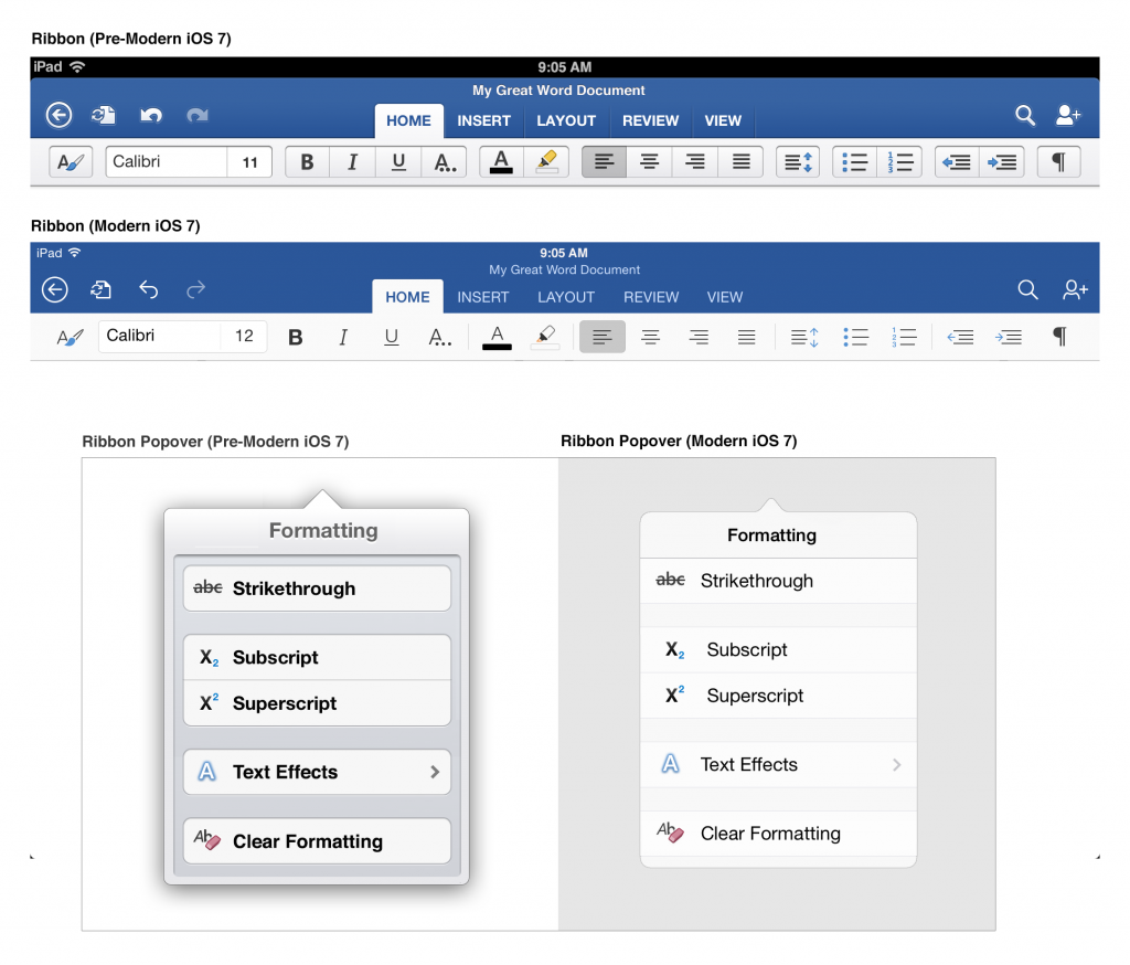 An image of the Office for iPad Ribbon Popover, with the Pre-Modern iOS 7 and Modern iOS 7 version side by side.
