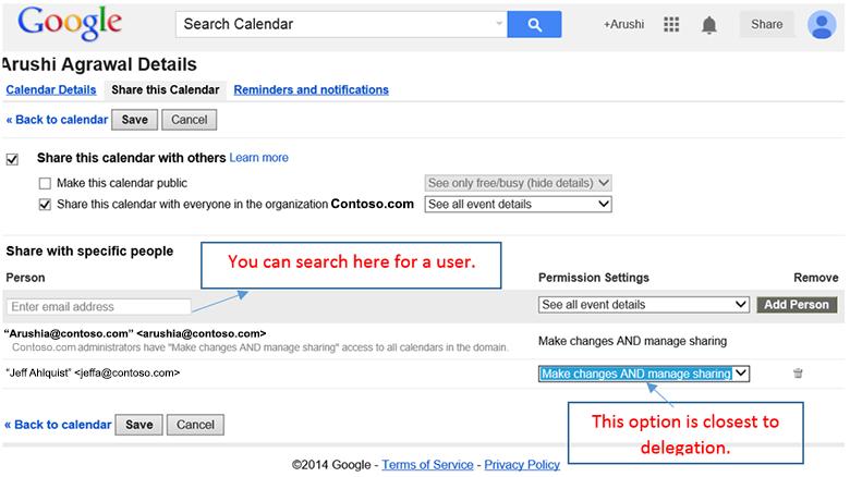 Google - Accessing the calendar delegate feature