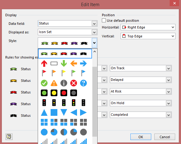 Custom Icon Set in the Data Graphic Creation window