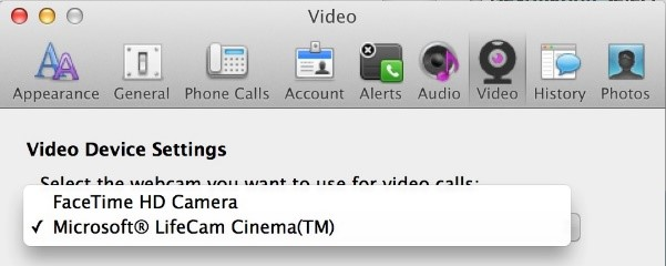 YOu can now choose your video cameria during a Lync Meeting in the updated Lync for Mac.