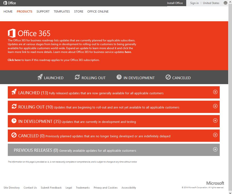 Office 365 Public Roadmap