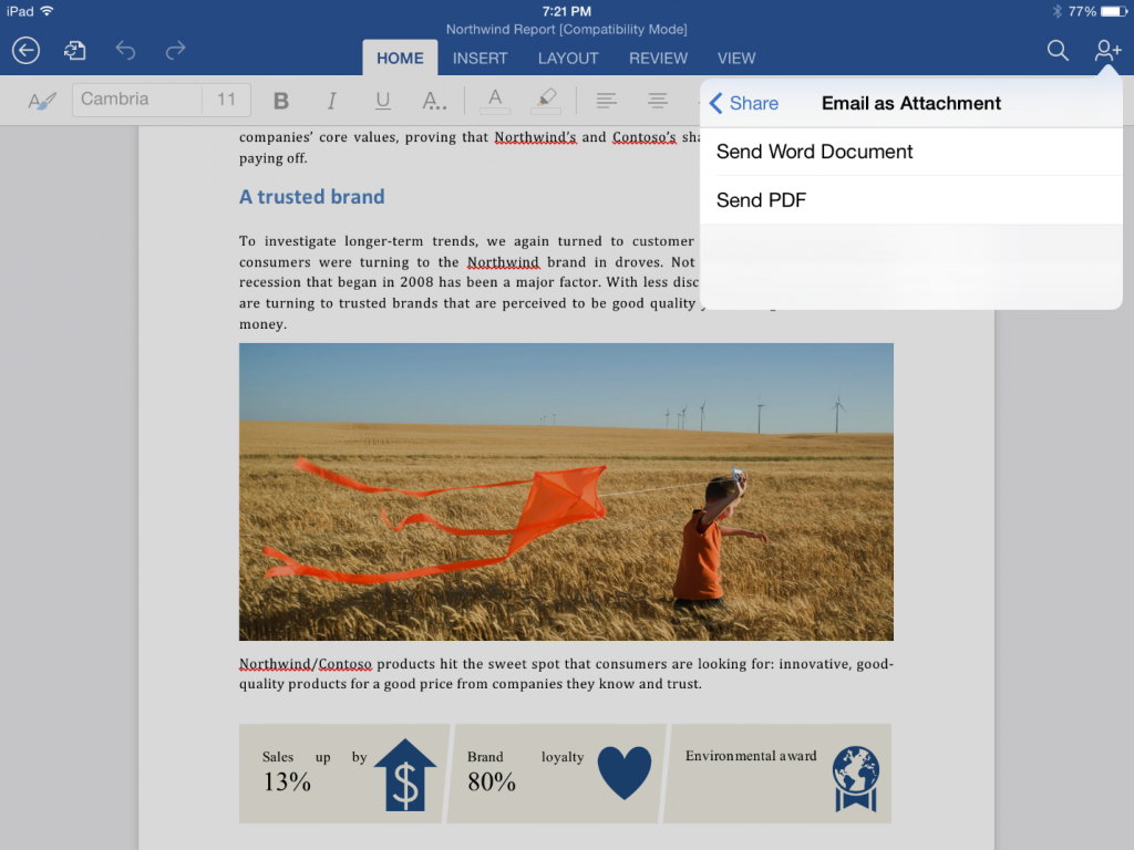 Export to PDF in Word for iPad