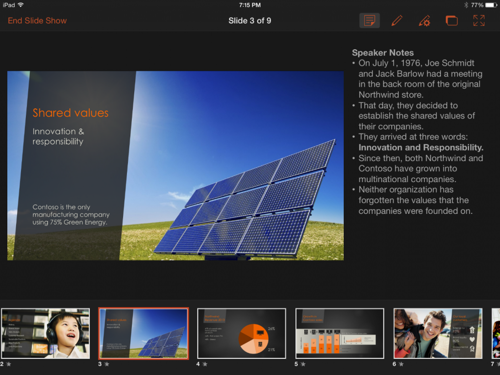 Presenter View in PowerPoint for iPad