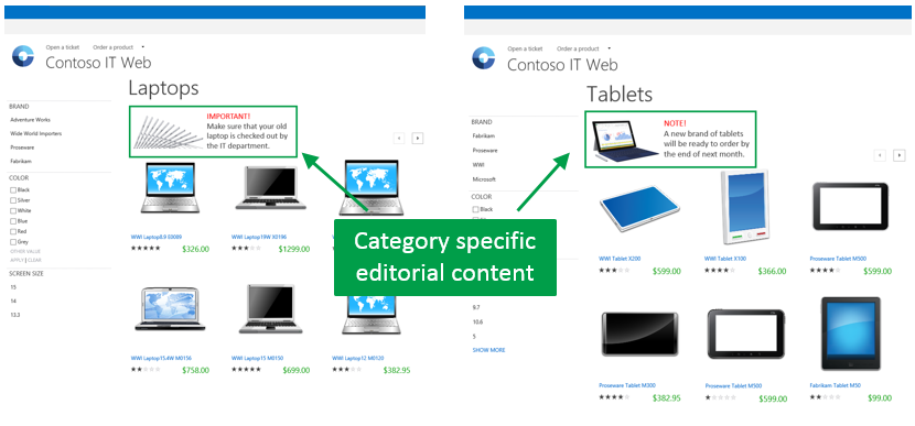 Category specific editorial content