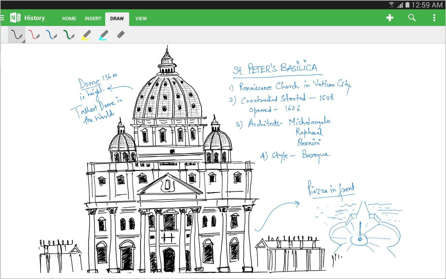 Handwriting capabilities in OneNote