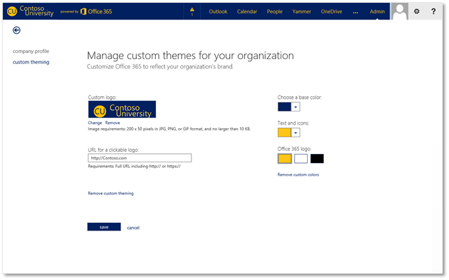 Manage custom themes for your organization