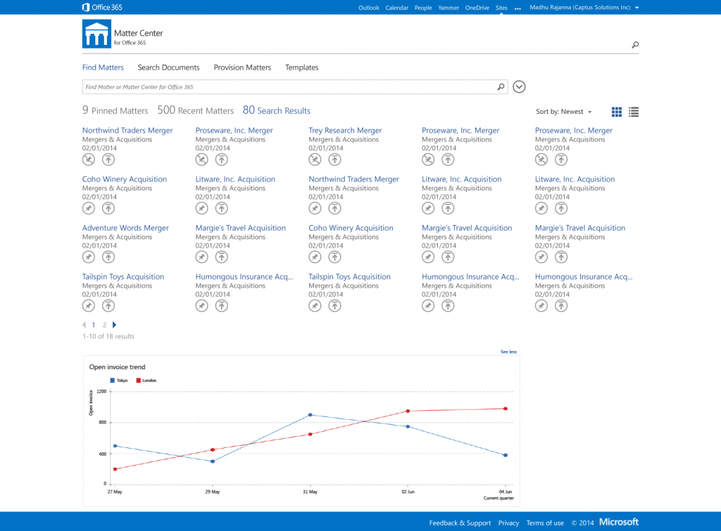 Matter Center landing page in Office 365