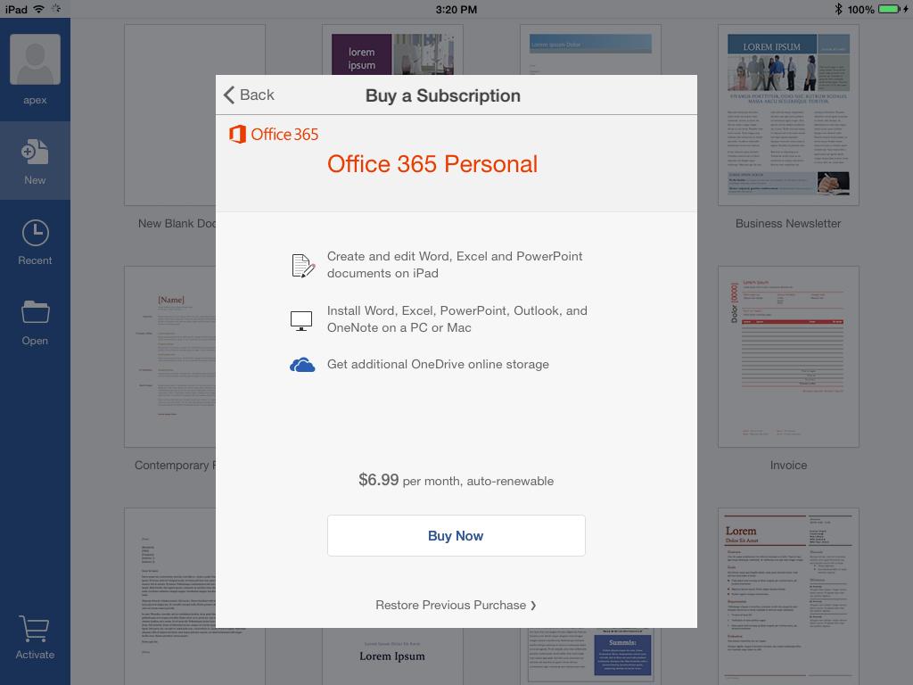 Office subcription