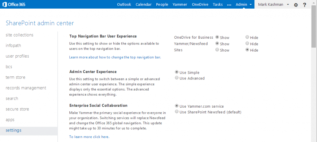 In Advanced mode in the SharePoint Online admin center, you can select the Use Simple (selected in the image above) or Use Advanced admin experience.