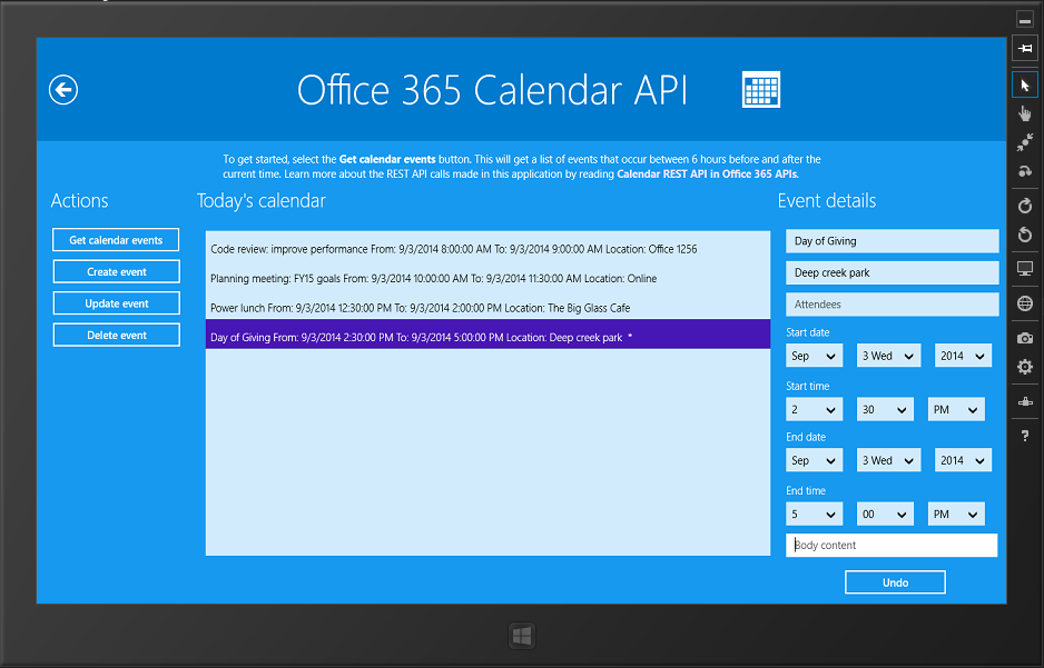 Calendar.xaml is where you access Office 365 events